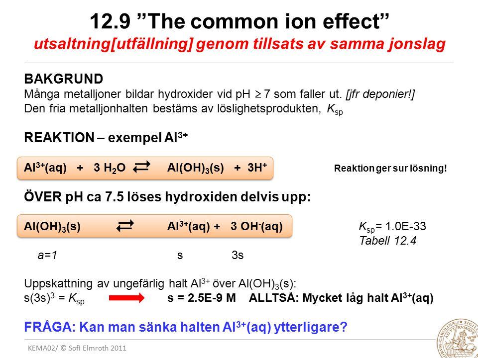 12.9 The common ion effect utsaltning[utfällning] genom tillsats av samma jonslag